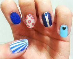 Blue velvet nails and geometric