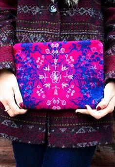 Future Folkloric Print Clutch Bag by Rachel Edmond available on ASOS Marketplace, Etsy & www.racheledmond.com