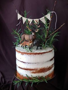 Als die Tiere den Wald verließen, um auf meiner semi-naked Orangen-Rosmarin-Tor… As the animals left the forest to take a seat on my semi-naked orange-rosemary cake. A great recipe that provides variety on the palate! Baby Boy Birthday, First Birthday Cakes, Christmas Birthday Cake, Christmas Cake Decorations, Christmas Desserts, Cupcakes, Bolo Cake, Naked Cake, Forest Cake