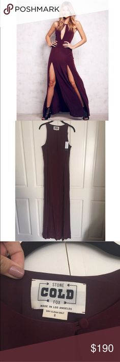 Nwt scf Owen gown Beautiful plum gown with double slits. Nwt. Does fit larger than a normal 2. Would fit a 4/6. I'm happy to answer any questions. Reasonable offers welcome! Stone Cold Fox Dresses Maxi