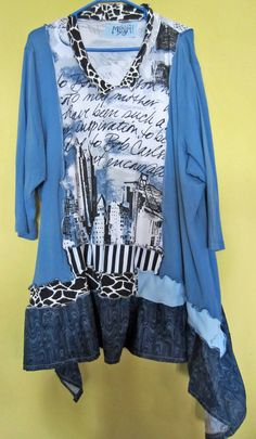 It's all about the fabric choices. Cityscape blue Black White Funky Upcycled Tunic fits by monapaints, $169.00