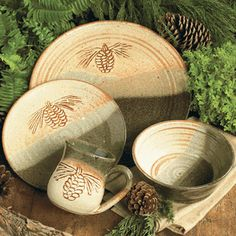 Fresh Pine Pottery Dinnerware - 4 pcs & rustic dinnerware sets clearance | ... » Rustic Cabin u0026 Lodge ...