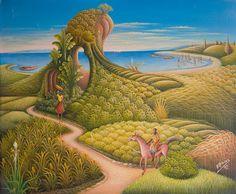 Haitian Art Pesca Sub, Haitian Art, Tropical, Vintage Rock, African American Art, Illustration Art, Illustrations, Black Art, Folk Art