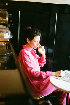 Datura Blog - Eliza Bagg // Soprano + Band Member from Pavo Pavo wears our Ren Jumpsuit in Fucshia Silk in Red Hook, BK.