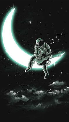 Music Man In The Moon Cross-Stitch Pattern Space Drawings, Space Artwork, Wallpaper Space, Dark Wallpaper, Galaxy Wallpaper, Wallpaper Backgrounds, Screen Wallpaper, Wallpaper Quotes, Astronaut Wallpaper