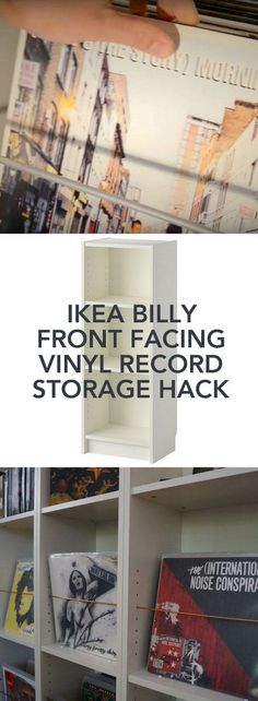 Oh my! This is so easy yet it works. http://www.ikeahackers.net/2014/07/billy-hacked-to-record-shelf-5.html