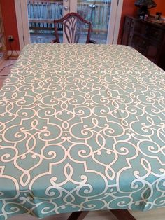 Table Cloth #51 Ornate Design on Aqua Colored Fabric, Medium, Up Cycled Fabric