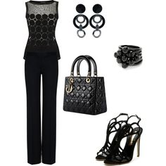 """Circles In Black"" by susimi on Polyvore"