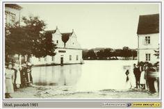 1901, Stod, rozvodněná Radbuza u školy na Komenského náměstí.
