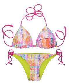 f4f67ff077a Thaikila Creole Print Reversible Triangle Top and Side Tie Brazilian Bottom  Bikini Swimwear Swimsuit Set