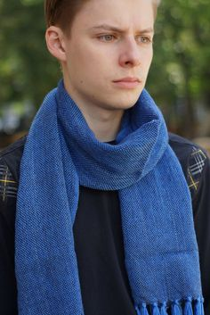 Handwoven blue scarf merino wool mens scarf by SockClub on Etsy