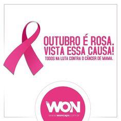 """"""" PARTICIPE DA LUTA CONTRA O CÂNCER DE MAMA """" Mulher de estilo se toca, faz exames clínicos e mamografia para detectar precocemente o Câncer de Mama, obtendo, assim, maior probabilidade de cura.  A WON adere à campanha contra o Câncer de mama E DEDICA UMA SEMANA NA SUAS REDES SOCIAIS SÓ COM POST DE MULHERES WON... 🎀 Tenha atitude, Participe você também, vai de WON! #cancerdemama #woncaps #santoscity #won #atitudewon"""