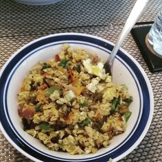 Made #eggfried rice for breakfast #delicious #bellpeppers #jalepenos #veggies #onions #garlic #eggs #rice #chives #crohns #eathealthy #cooking #glutenfree #glutenfreelife #crohnsdisease #crohnslife by insta_katfish