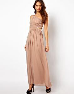 15 Blush Bridesmaid Dresses Under $250: Little Mistress Embellished One Shoulder Maxi Dress – $110 at ASOS We love this option for a more formal wedding (and the dusty rose blush is a great addition to a mutli-hued bridal party with lots of bridesmaids dresses in different shades of the same color).