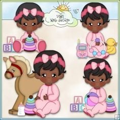 Baby Girls Playtime 3 - Non-Exclusive Clip Art