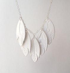 CREEL NECKLACE 5 Fish White Ceramic Sterling Silver by FULTONandCO, $118.00