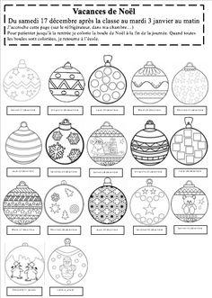 J'ai moi aussi adapté le calendrier proposé sur le site, avec des boules de Noël à colorier...  - Calendrier vacances Noël 2016.pdf  - Calendrier vacances Noël 2016.docx Le Site, Printables, Personalized Items, Maxime, Petite Section, Maths, Collage, Holidays, Xmas