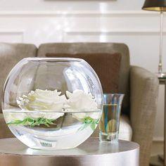rundes Glas mit weißen Rosen