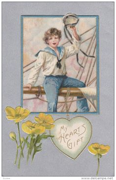 VALENTINE´S DAY: My Hearts Gift, Sailor on ship's mast waving goodbye with hat…