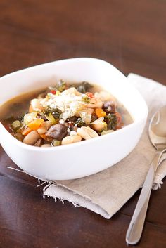 White bean and vegetable soup with kale