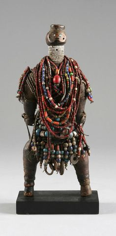 Africa | Doll from the Dowayo (aka the Namji) people of Cameroon | Wood, glass beads, coins and metal rings