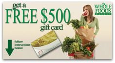Enter to win the Great Big $500 Whole Foods Market Gift Card Giveaway!