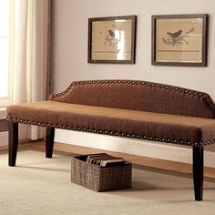 Furniture Of America Hasselt Brown Bench CM-BN6880BR