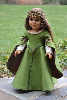 Forest Tones Medieval Gown for AG dolls by PemberleyThreads on Etsy  $60.00