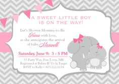 Elephant Baby Shower Invitation Chevron Mom and Baby Girl Pink Gray Grey Bunting Banner Invitation Invite Invitations Invites Digital Electronic File DIY Evite or Printable  by AsYouWishCreations4u