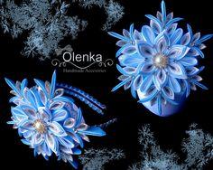 Fabric Ornaments, Snowflake Ornaments, Christmas Snowflakes, Felt Ornaments, Christmas Crafts, Satin Flowers, Diy Flowers, Fabric Flowers, Kanzashi Flowers