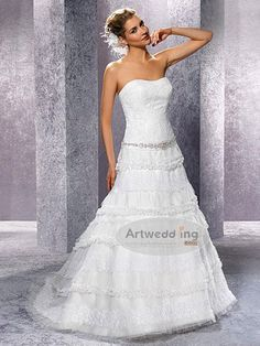 Tiered and Trimmed Lace and Tulle A Line Wedding Gown with Appliqued and Beaded Belt