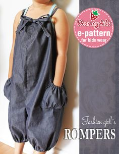 Fashion Girl's Rompers - (12 months upto age 6) PDF patterns $6.00