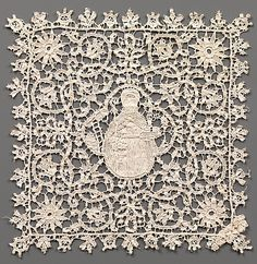 Chalice veil. 16th century Italian. Linen, needle lace (punto in aria) Dimensions: a) H. 22 x W. 22 in. (55.9 x 55.9) b) H. 6 x W. 6 in. (15.2 x 15.2 cm). The Nuttall Collection, Gift of Mrs. Magdalena Nuttall, 1908