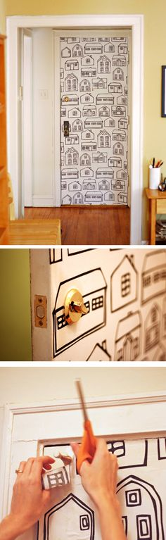 Fabric Wallpaper Door #DIY - not exactly this print - but you get the idea - garage door