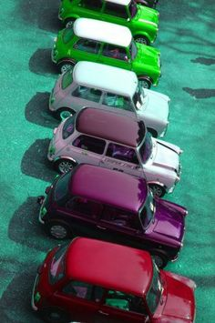 Colorful MINI Coopers | Vintage | Vintage MINI Cooper | Colorful Cars | Cool Cars