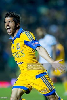 Damian Alvarez of Tigres celebrates after scoring his team's first goal during a 8th round match between Tigres UANL and America as part of the Clausura 2016 Liga MX at Universitario Stadium on February 27, 2016 in Monterrey, Mexico.