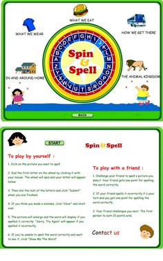Spin & Spell:  Fun online game to practice spelling!  Great for interactive whiteboards or computer lab activity.