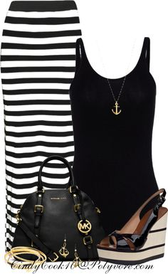 """Stripes and Anchors"" OMG......so Love this.....I have MK bag in Orange this outfit would be great in Orange. Yaya"