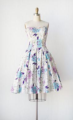 vintage 1950s dress | 50s floral dress | Field Thistles Dress