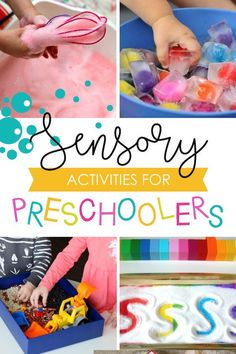 Sensory Preschool Activities for toddlers and preschoolers #preschool #sensoryactivities Sensory Activities For Preschoolers, Preschool Learning Activities, Preschool Lessons, Infant Activities, Classroom Activities, Preschool Curriculum, Homeschooling, Indoor Activities, All About Me Activities For Toddlers