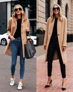 Camel coat (left everlane - size 2 / right saks size XS) black sweater (xs) jeans (tts) golden goose sneakers black pumps Casual Weekend Outfit, Casual Outfits, Casual Jeans, Casual Sneakers Outfit, Sneaker Outfits, Women's Sneakers, Winter Fashion Outfits, Winter Outfits, Fall Fashion