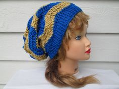 Beautiful Slouch beanie . Great accessory for any time of the year, elegant  Its hand knitted by me with great care and attention to details.