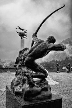 "misterlemonzest: "" iafeh: "" Bourdelle antoine - Hercules the Archer - 1909 - Hakone openair museum Japan background: Carl Milles - Man and Pegasus - original 1949, Malmö, Sweden "" MisterLemonZest | http://MisterLemonZest.tumblr.com/Archive """