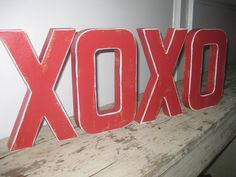 Valentines Day Painted Distressed Paper Mache Letters