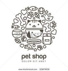 Linear illustration of funny muzzle of cat and dog. Goods for animals, vector icons set. Abstract design concept for pet shop or veterinary.
