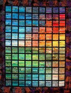 """ Raampjes"" (windows), rainbow strip quilt, by Mieke Gootjes (The Netherlands)"