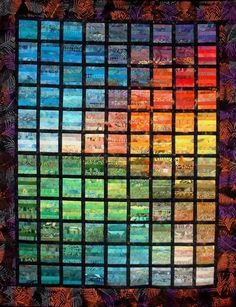 """ Raampjes"" (windows), rainbow strip quilt, by Mieke Gootjes (The Netherlands)"