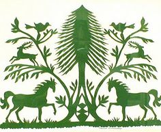 """The paper cut [above] is a Scherenschnitte, or German Paper Cut.  The figures and the tree are more realistic, similar to a silhouette.  Some of the earliest """"photos"""" were shadow silhouettes of people, animals, and nature. —from 'Felicias Fabulous Folkart'"""
