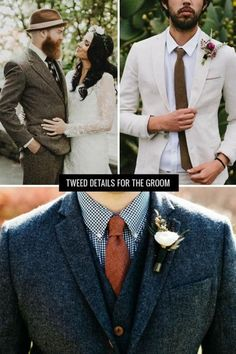 Looking for the perfect winter style ideas for your groom? We love tweed details + textiles for cooler weather!
