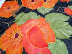 Orange poppies hand painted  beautiful vintage silk by CHEZELVIRE, $12.00
